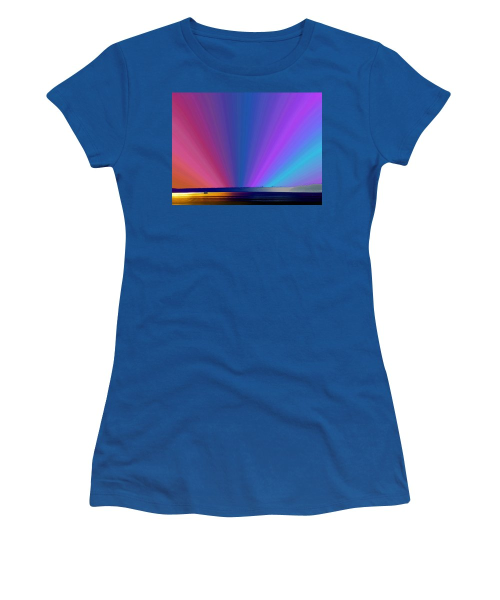 Ferry Women's T-Shirt (Athletic Fit) featuring the photograph Rainbow Setting by Tim Allen