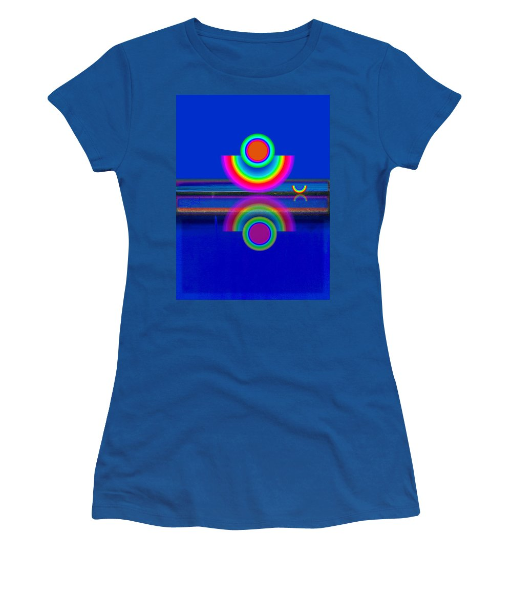 Reflections Women's T-Shirt featuring the painting Reflections On Blue by Charles Stuart