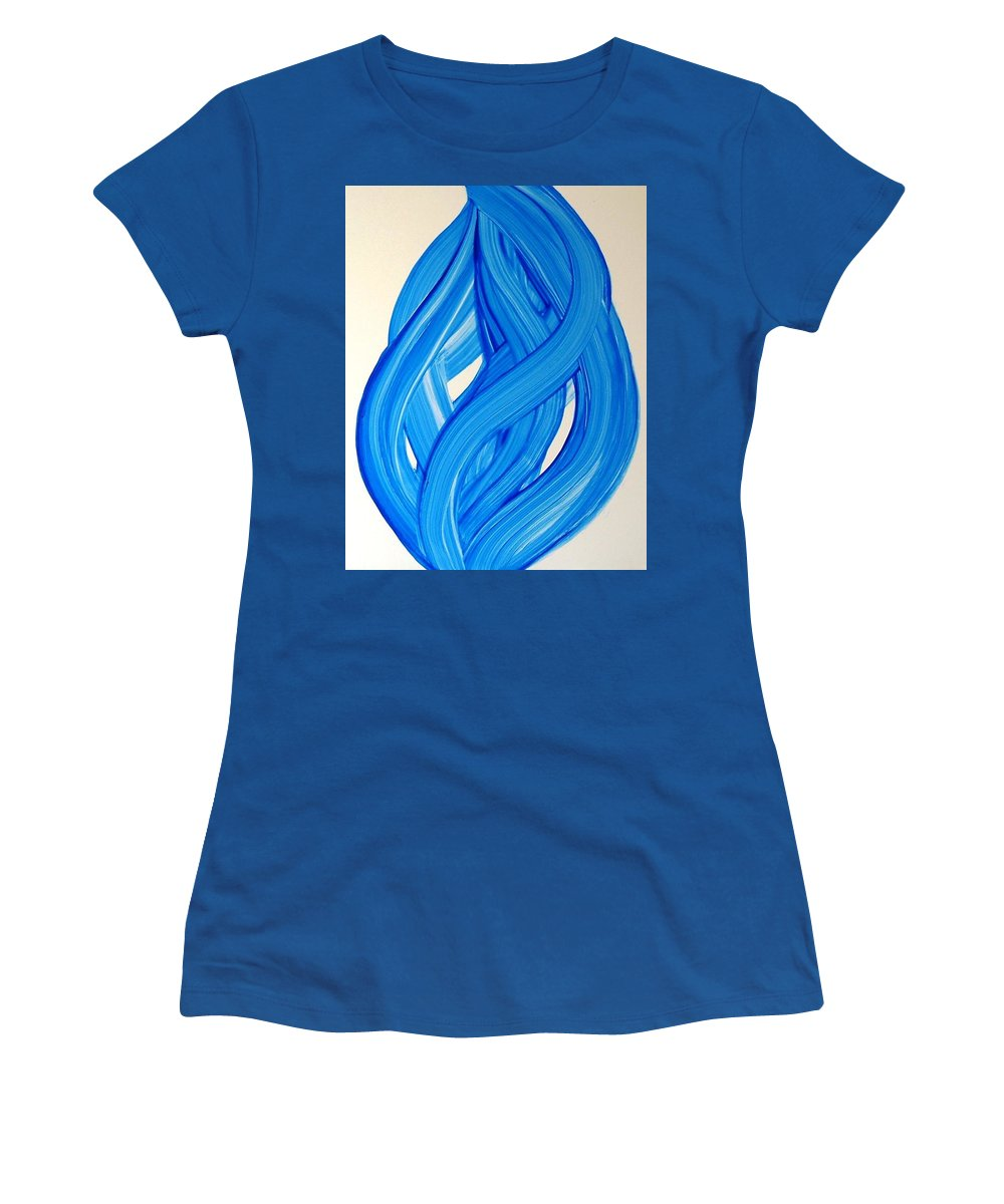 Abstract Modern Contemporary Yupo Art Painting Romantic Pop Blue Women's T-Shirt (Athletic Fit) featuring the painting Ribbons Of Love-blue by Manjiri Kanvinde