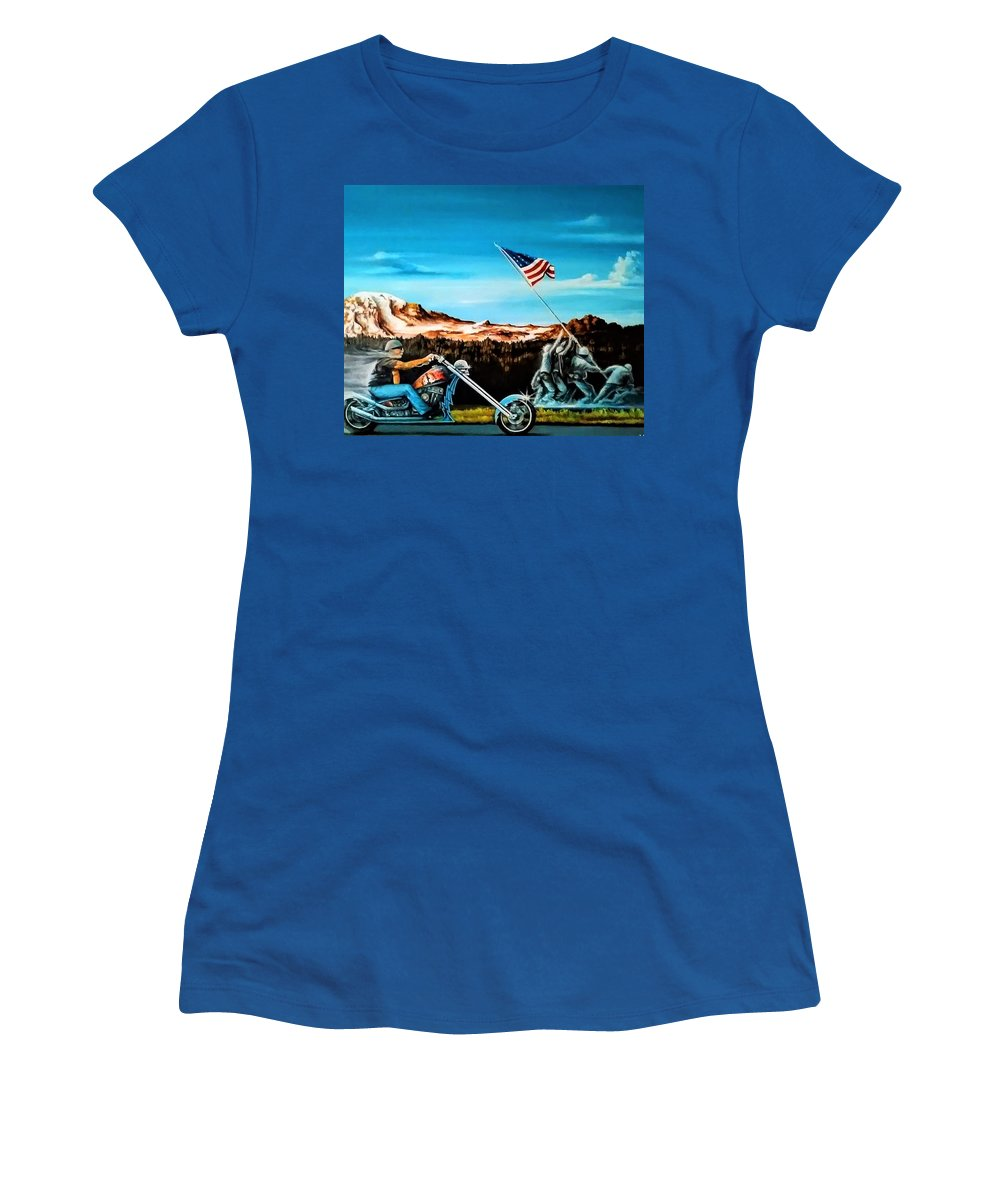Iwojima Women's T-Shirt featuring the painting Ride Forever by DC Houle