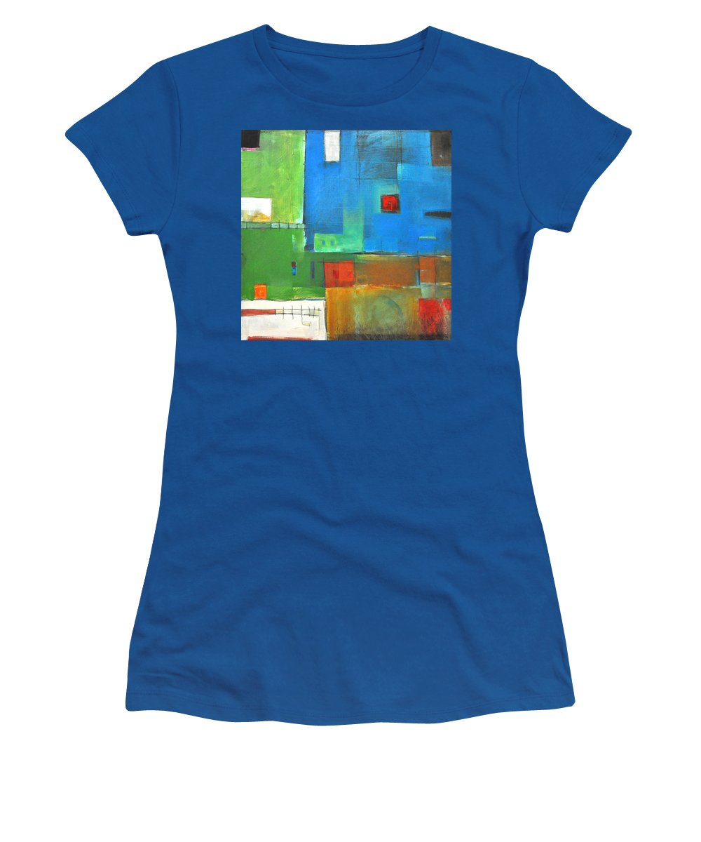 Landscape Women's T-Shirt featuring the painting Rural Landscape Rusted by Tim Nyberg
