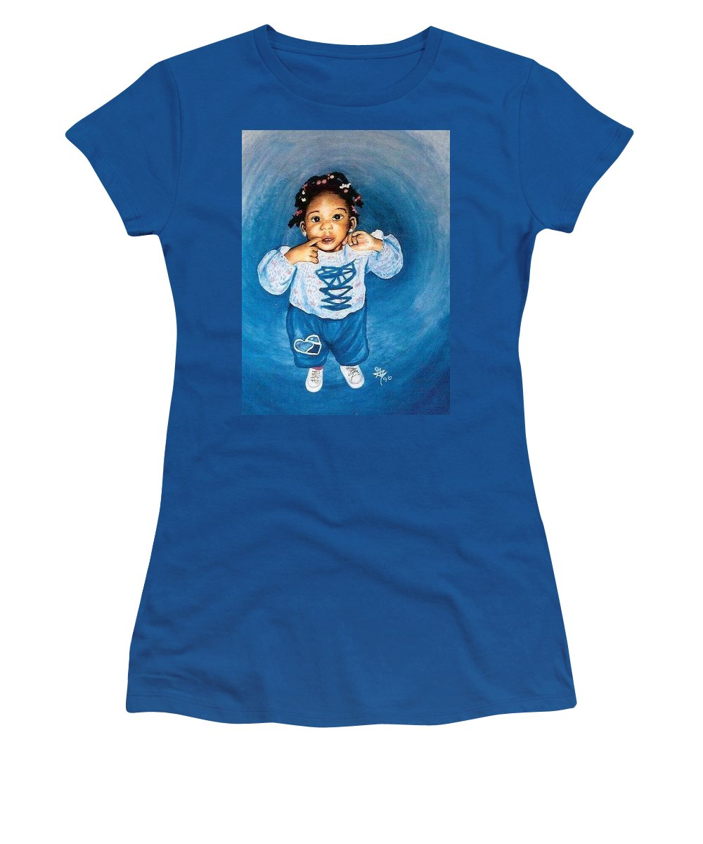 Child Women's T-Shirt (Athletic Fit) featuring the pastel Sadie by Gale Cochran-Smith