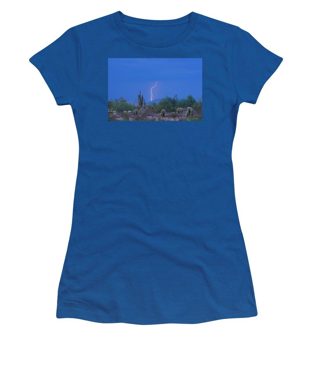Lightning Women's T-Shirt featuring the photograph Saguaro Desert Lightning Strike Fine Art by James BO Insogna