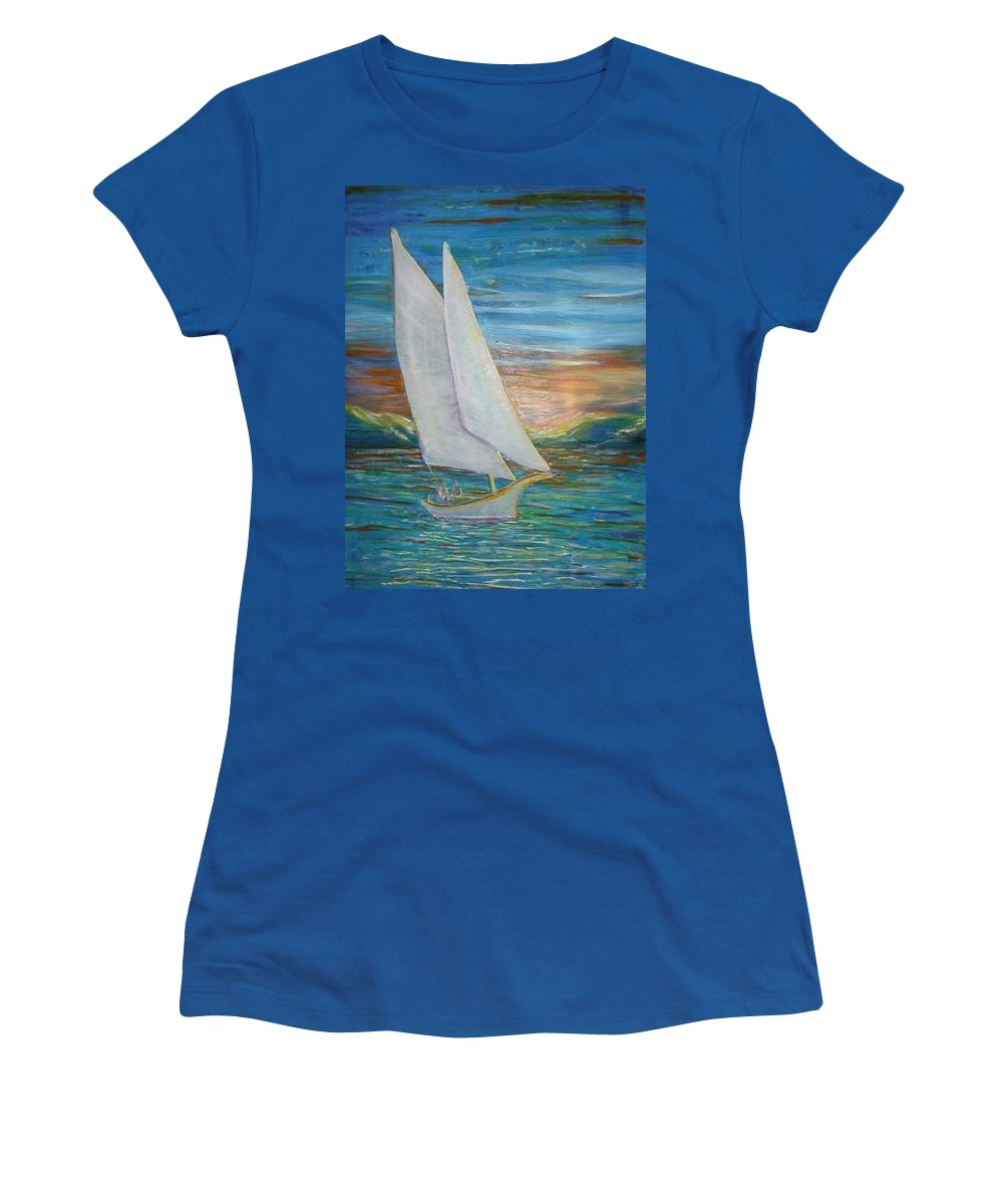 Sailboat Women's T-Shirt (Athletic Fit) featuring the painting Saturday Sail by Regina Walsh