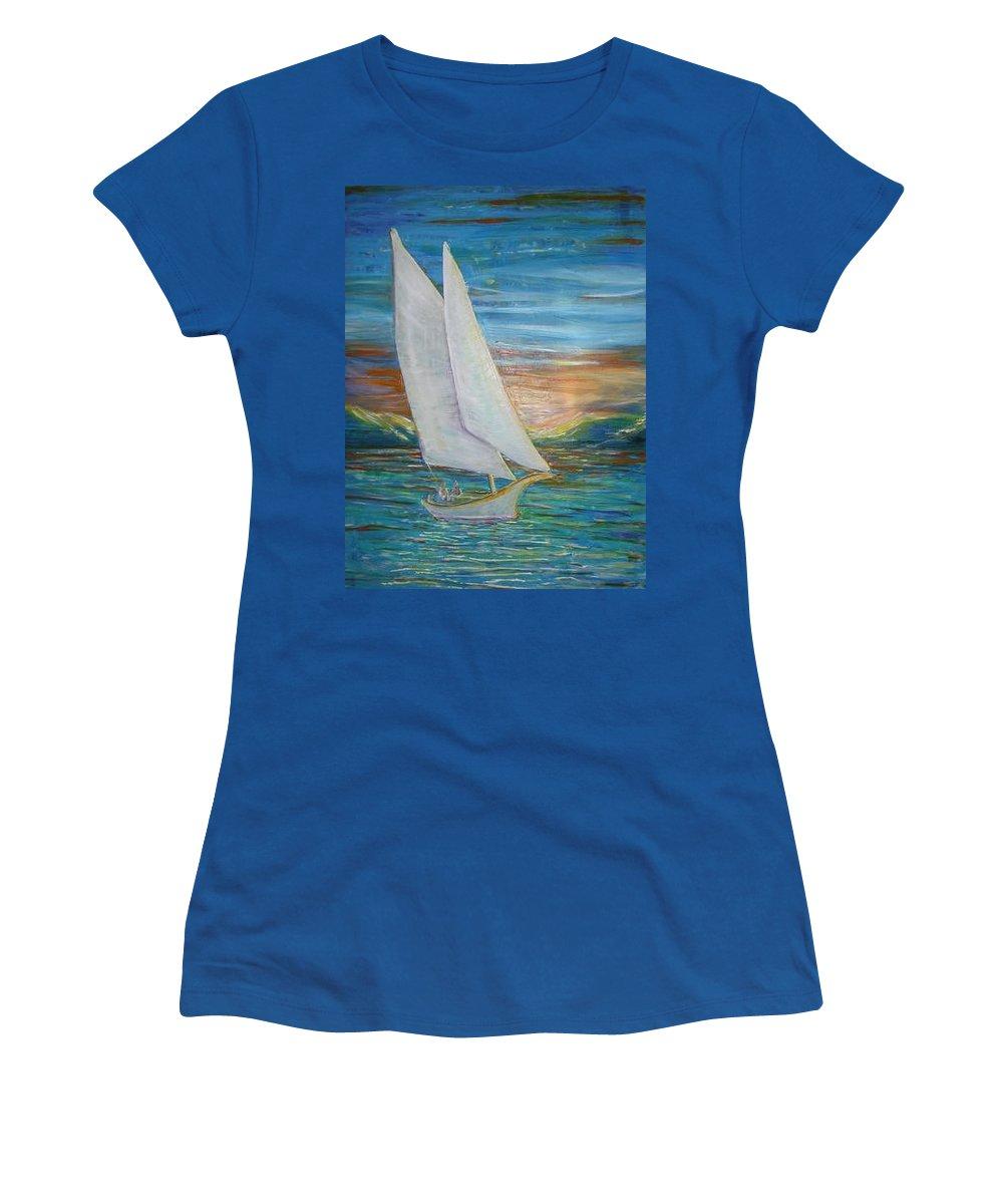 Sailboat Women's T-Shirt featuring the painting Saturday Sail by Regina Walsh