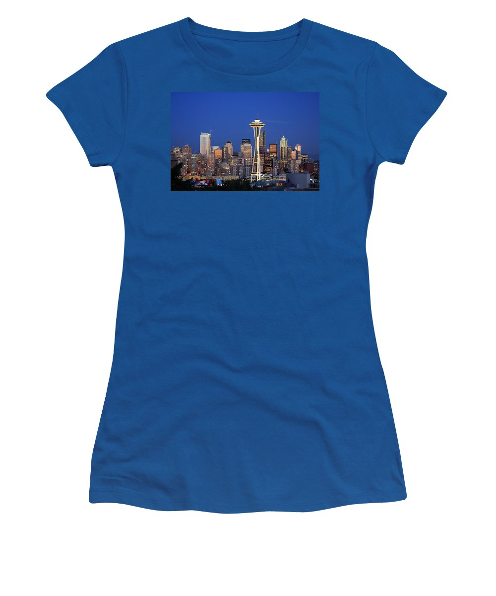 3scape Photos Women's T-Shirt featuring the photograph Seattle At Dusk by Adam Romanowicz