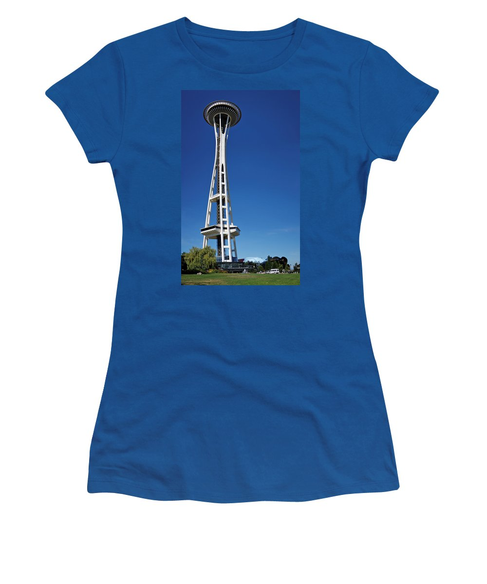 3scape Women's T-Shirt (Athletic Fit) featuring the photograph Seattle Space Needle by Adam Romanowicz