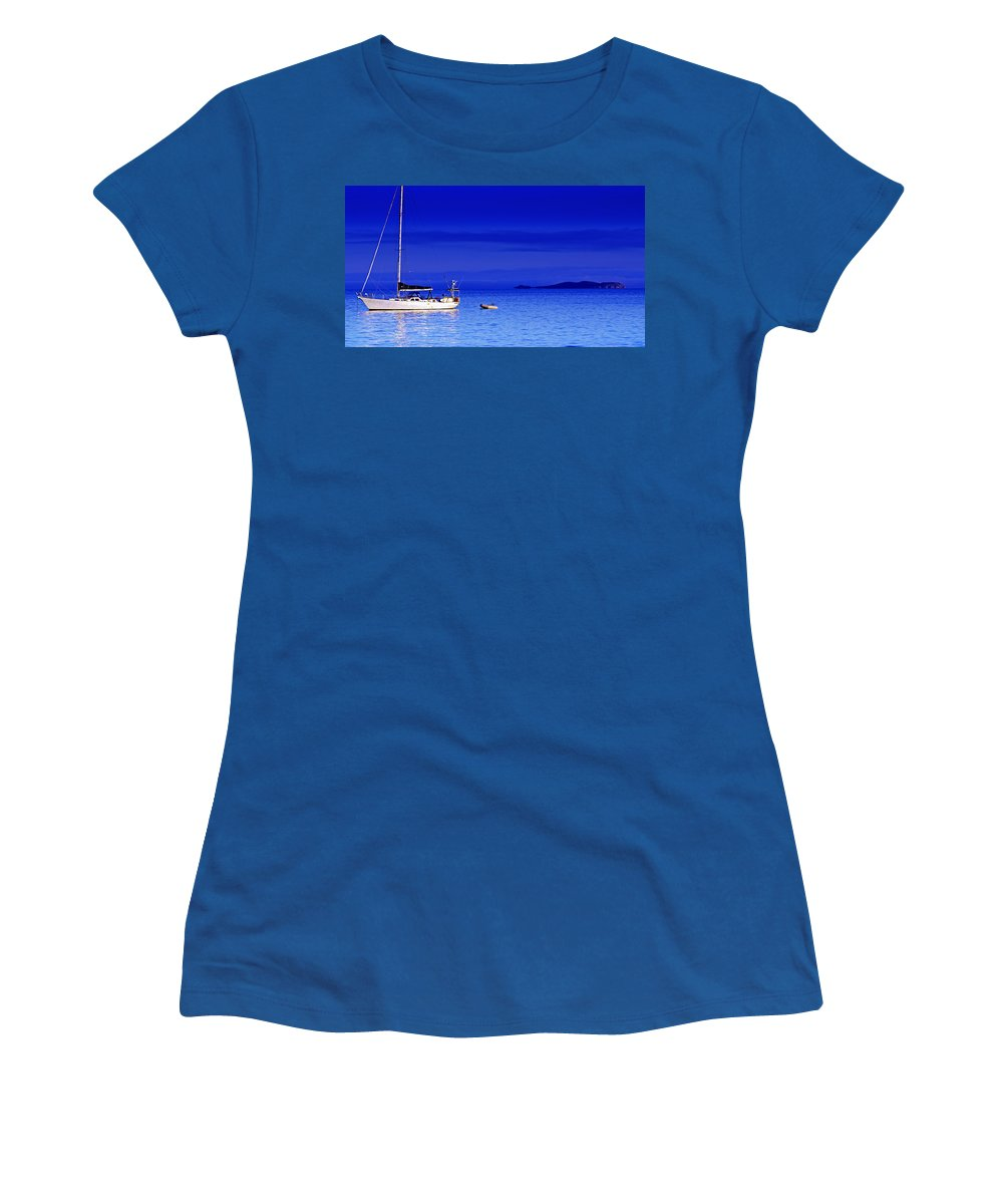 Transportation. Boats Women's T-Shirt (Athletic Fit) featuring the photograph Serene Seas by Holly Kempe