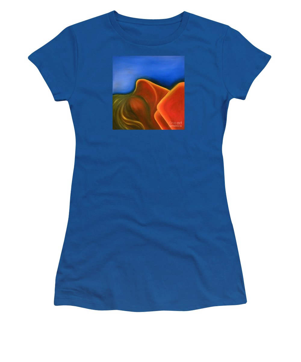 Woman Paintings Women's T-Shirt (Athletic Fit) featuring the painting Sinuous Curves Iv by Fanny Diaz