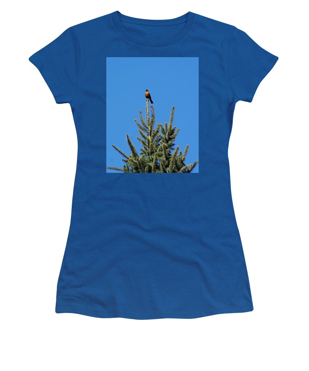 Birds Women's T-Shirt featuring the photograph Sitting On Top Of The World 2 by Ben Upham III