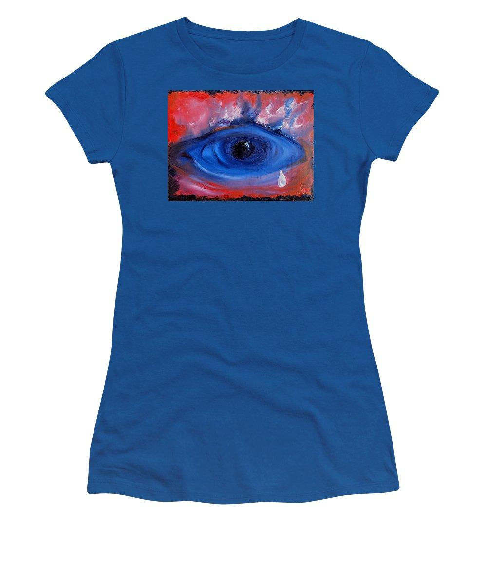 Original Women's T-Shirt featuring the painting Sky Eye                 71 by Cheryl Nancy Ann Gordon