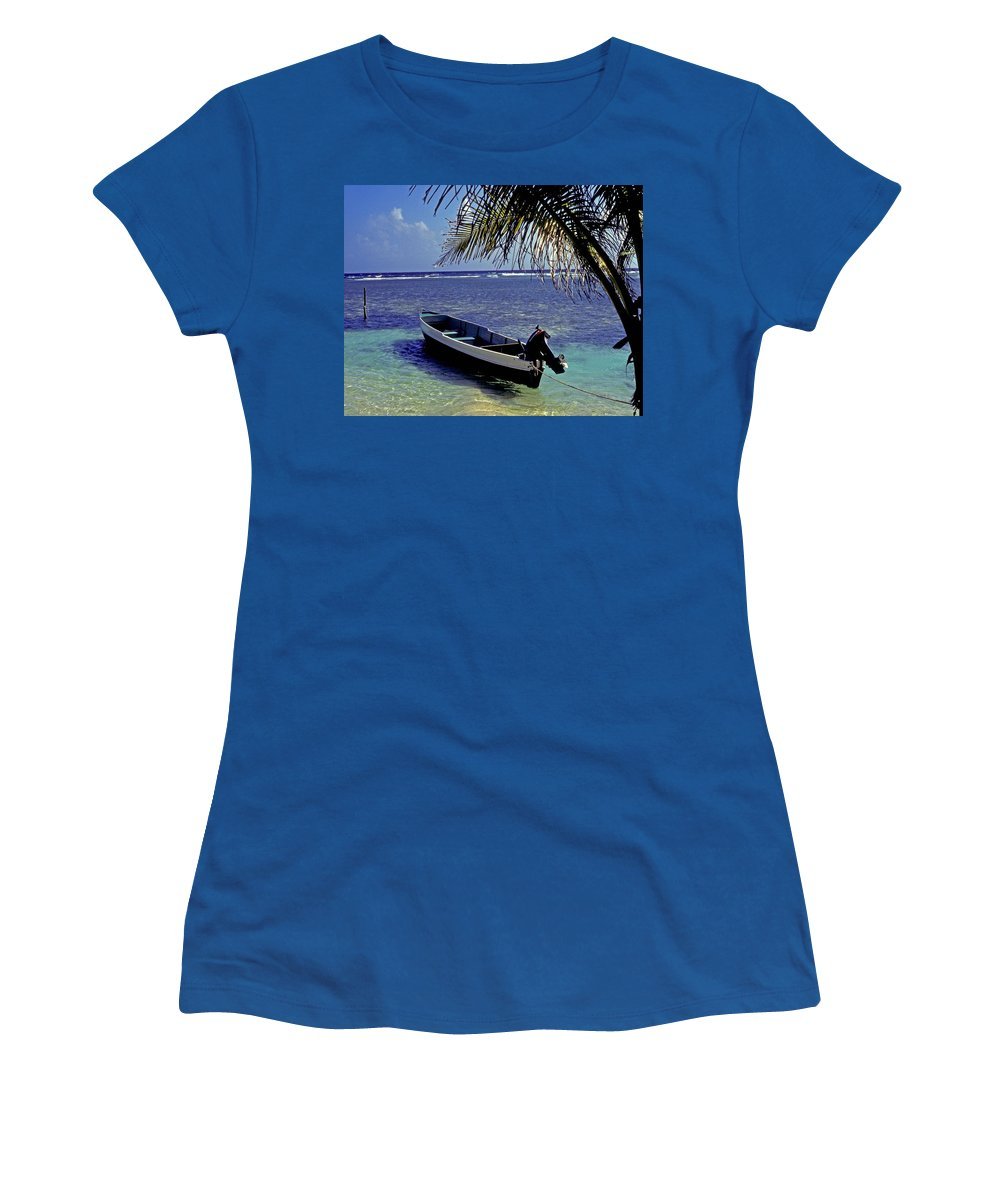 Boat Women's T-Shirt featuring the photograph Small Boat Belize by Gary Wonning
