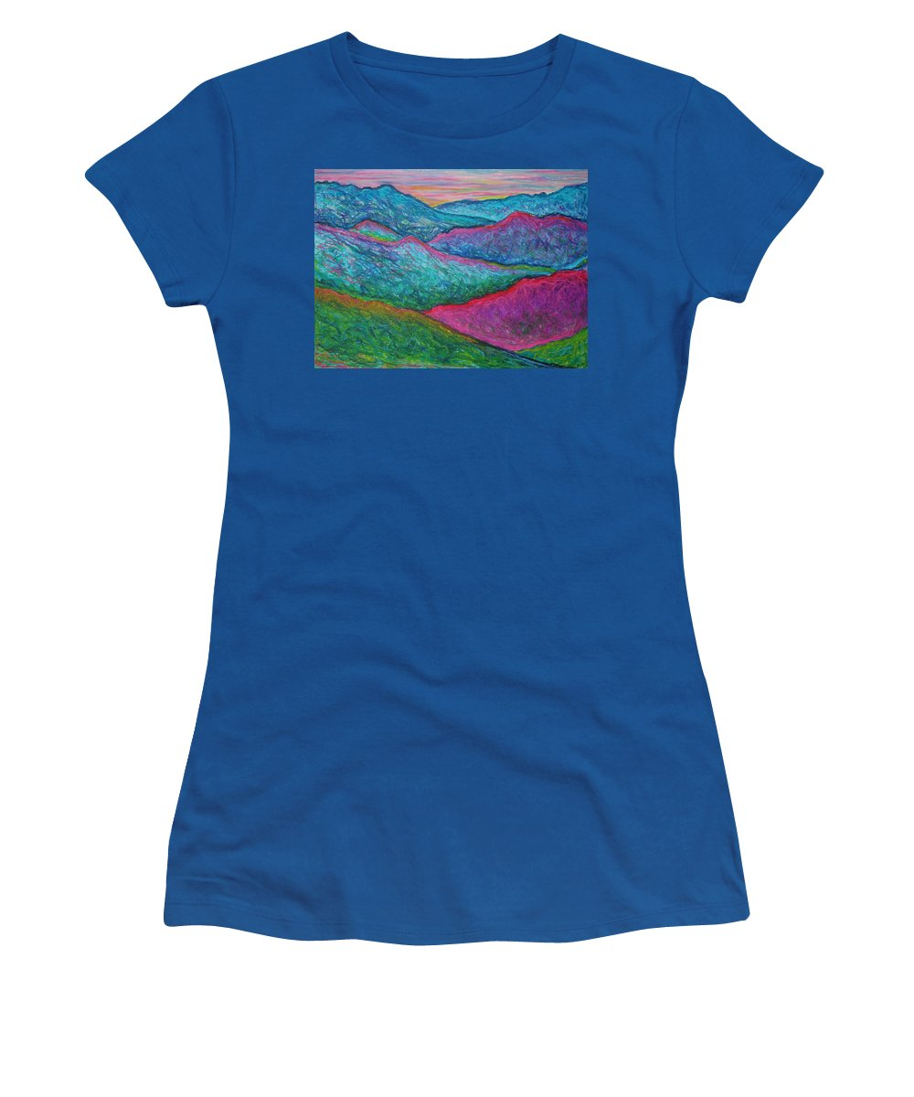 Oil Pastels Women's T-Shirt (Athletic Fit) featuring the painting Smoky Mountain Abstract by Nancy Mueller