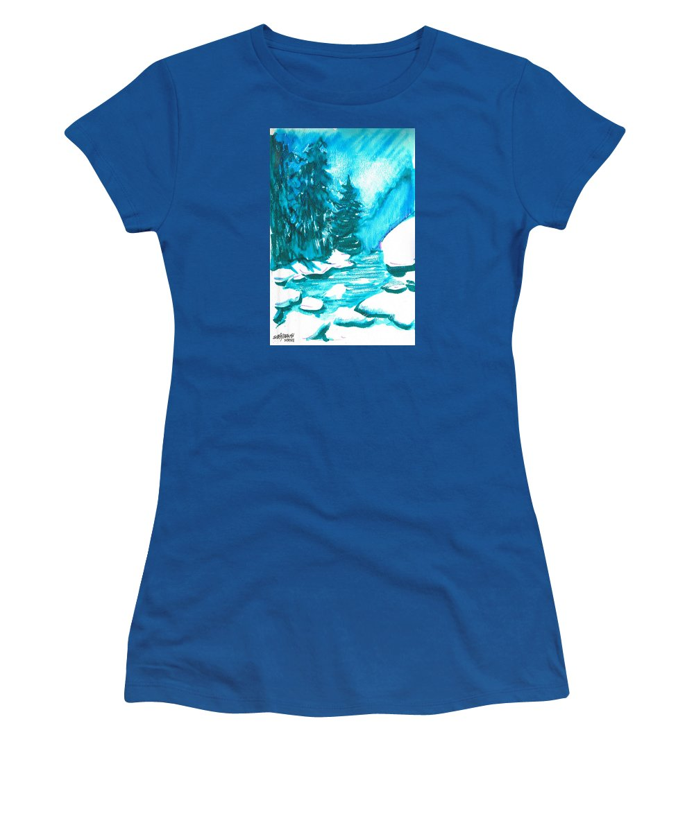 Chilling Women's T-Shirt featuring the mixed media Snowy Creek Banks by Seth Weaver