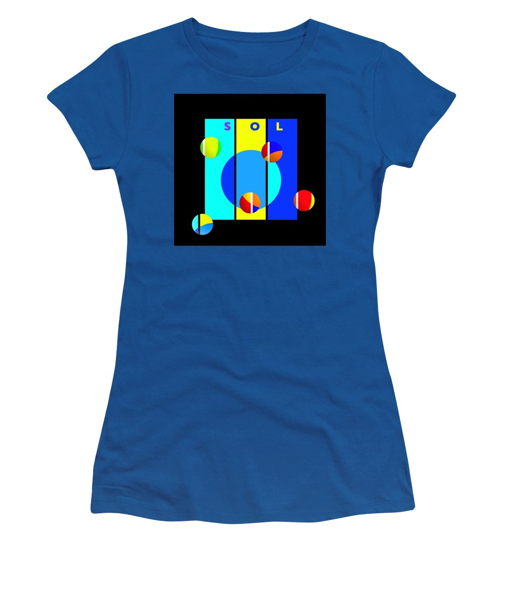 Primary Colors Women's T-Shirt featuring the painting Solar Activity by Charles Stuart