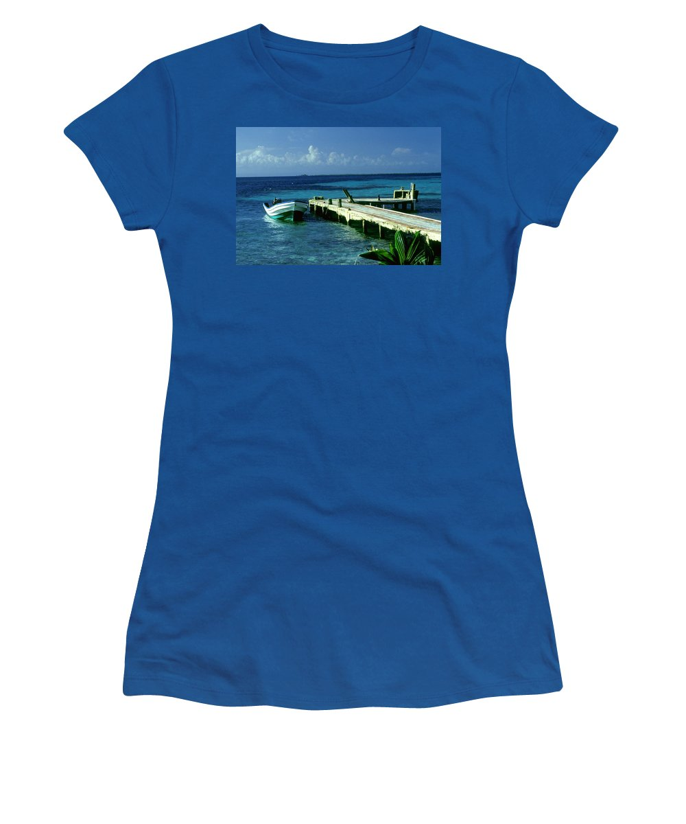 Boat Women's T-Shirt featuring the photograph South Caye Belize Boat Dock by Gary Wonning
