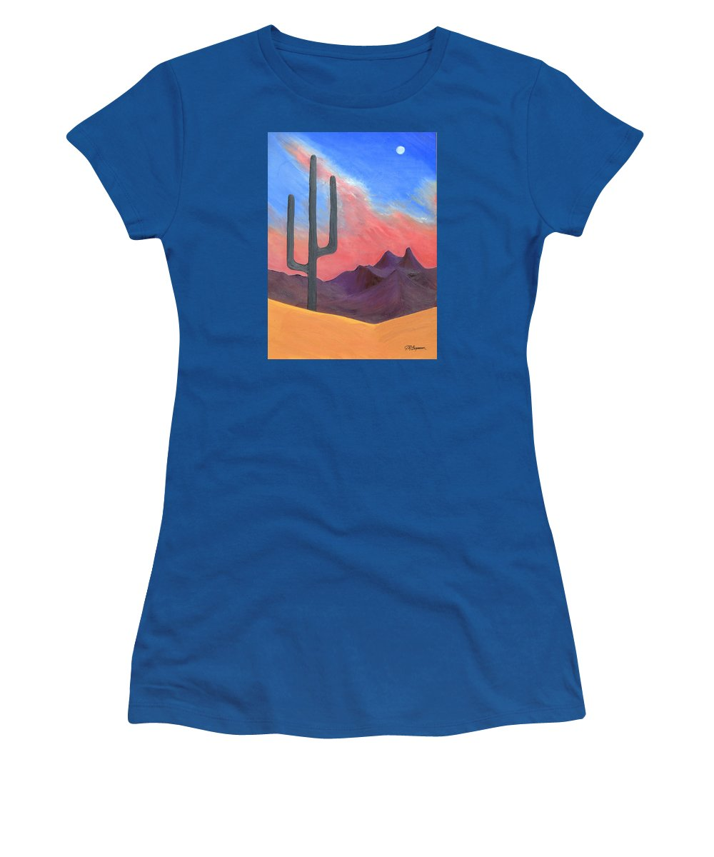 Cactus Women's T-Shirt (Athletic Fit) featuring the painting Southwest Scene by J R Seymour