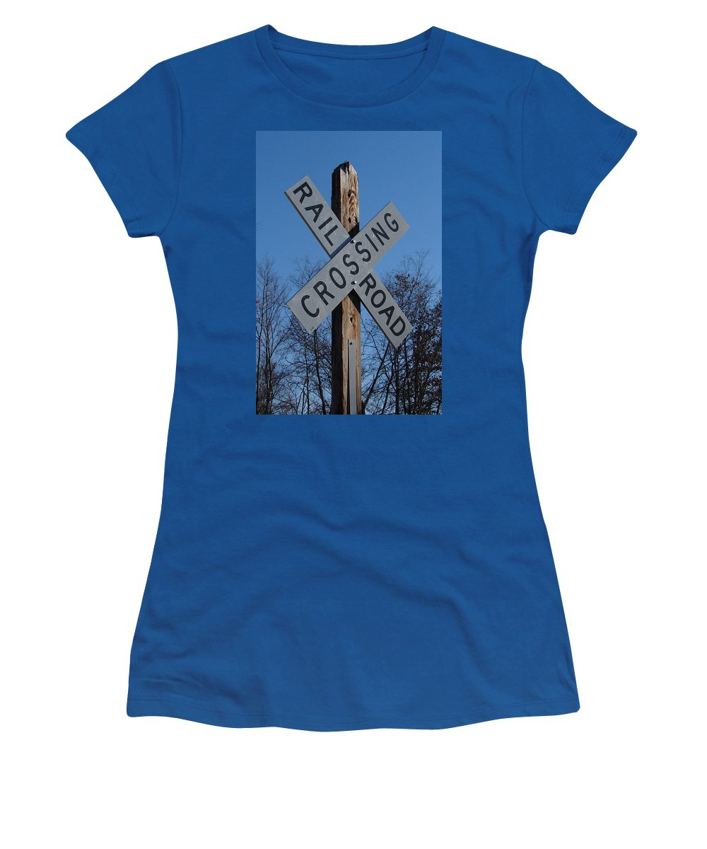 Sign Blue Sky Women's T-Shirt (Athletic Fit) featuring the photograph Speaks For It by Luciana Seymour