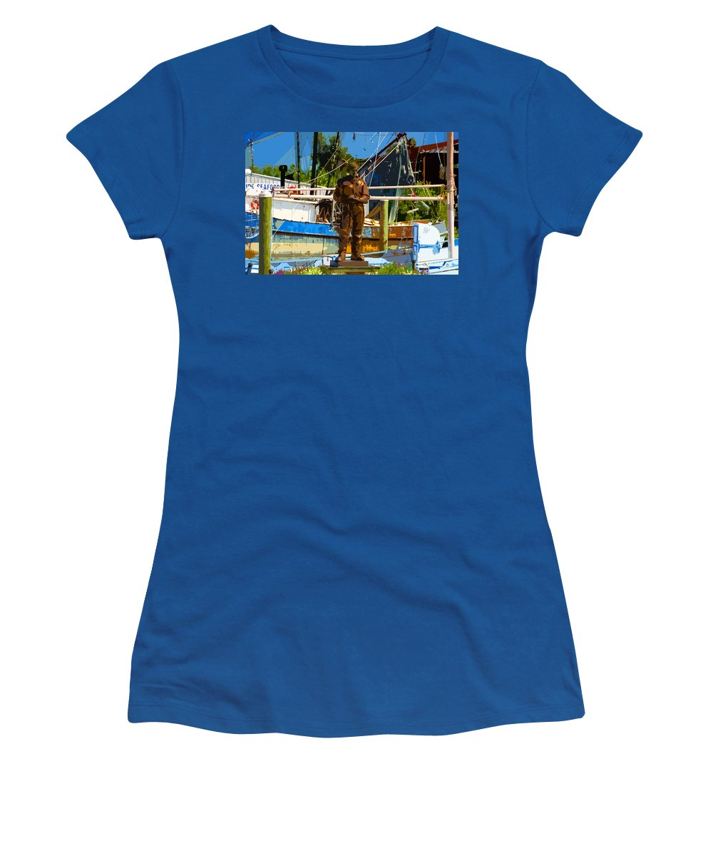 Sponge Diving Women's T-Shirt (Athletic Fit) featuring the painting Sponge Diver by David Lee Thompson