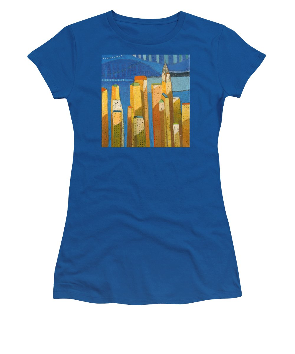 Abstract Cityscape Women's T-Shirt featuring the painting Standing High by Habib Ayat