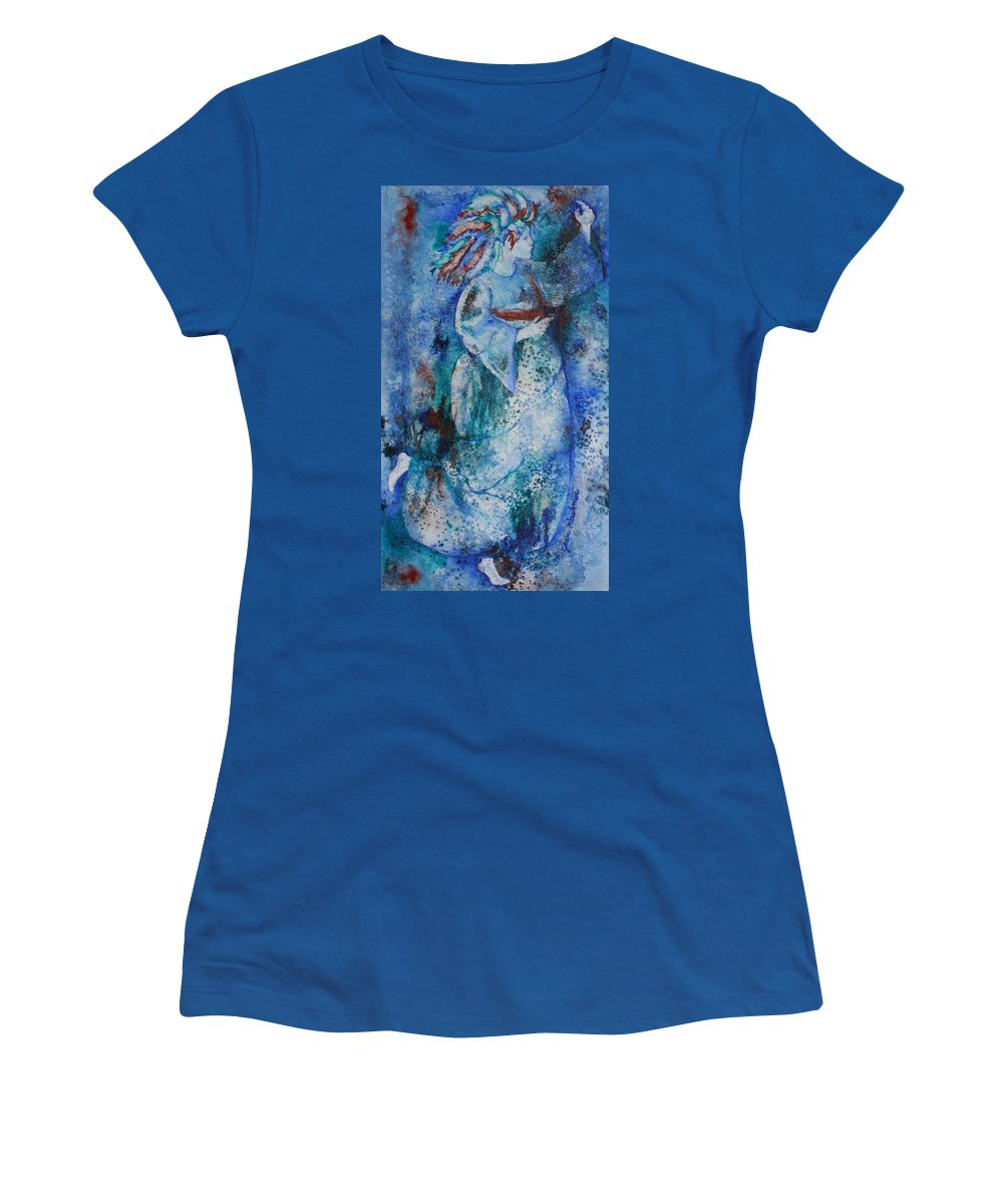 Abstract Women's T-Shirt (Athletic Fit) featuring the painting Star Dancer by Jean Blackmer