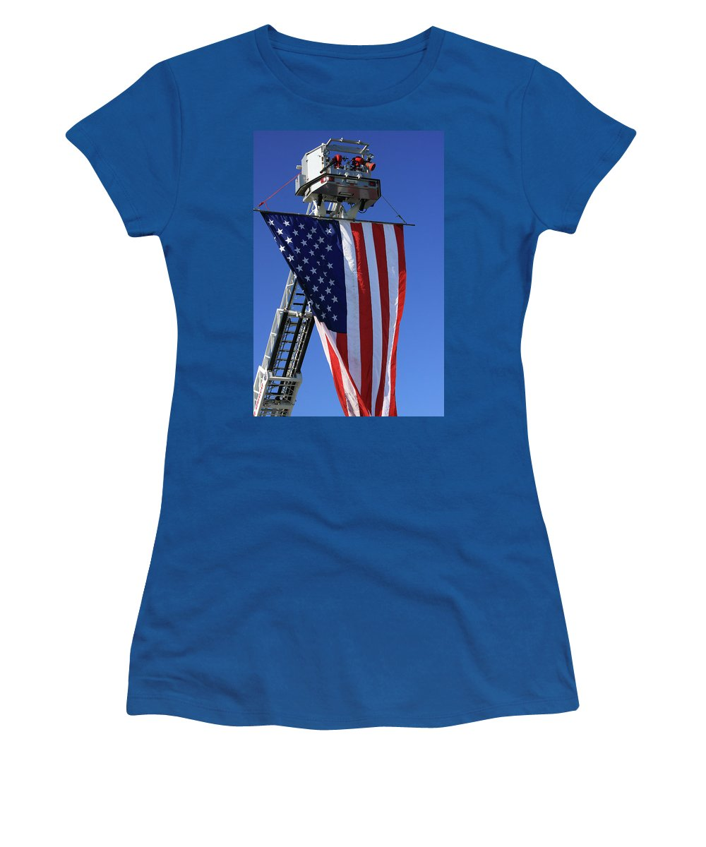Americana Women's T-Shirt (Athletic Fit) featuring the photograph Stars And Stripes by Karol Livote