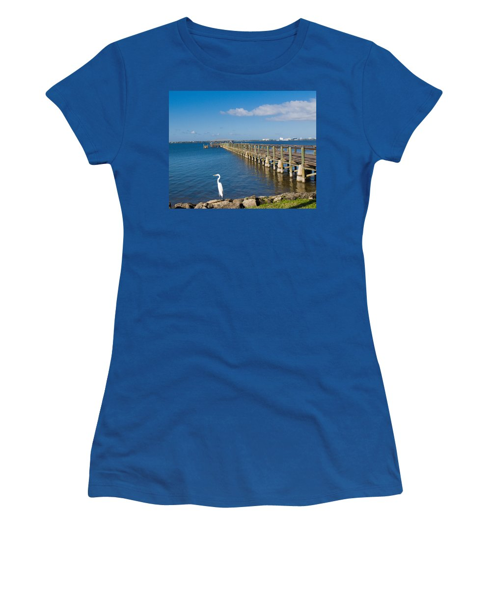 Florida; Melbourne; Beach; Atlantic; Coast; East; Space; Pier; Pineapples; Steamboat; Load; Cargo; I Women's T-Shirt (Athletic Fit) featuring the photograph Steamboat Landing Ot Melbourne Beach In Florida by Allan Hughes