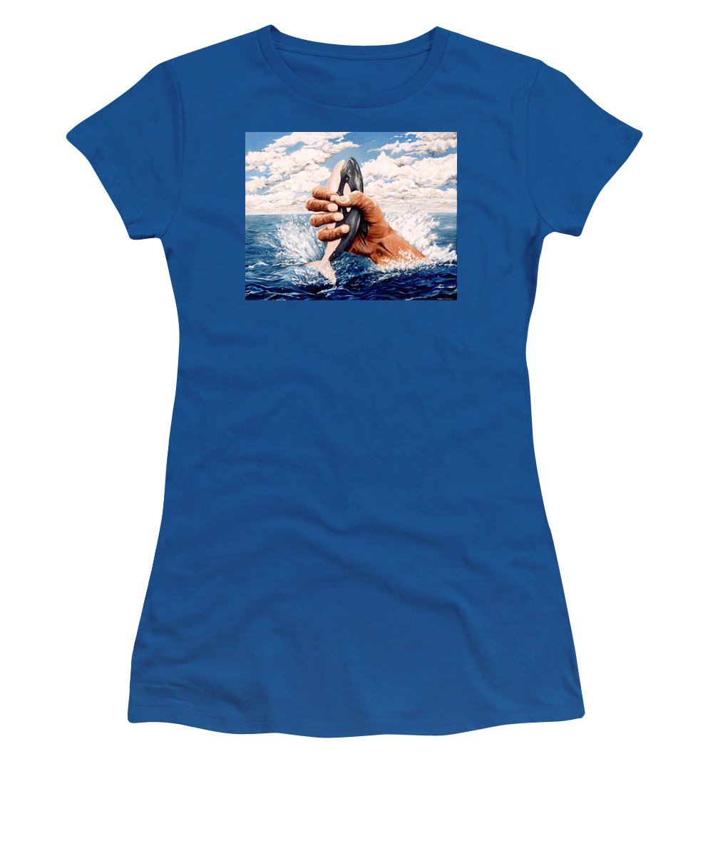Surreal Women's T-Shirt (Athletic Fit) featuring the painting Stop Whaling by Mark Cawood