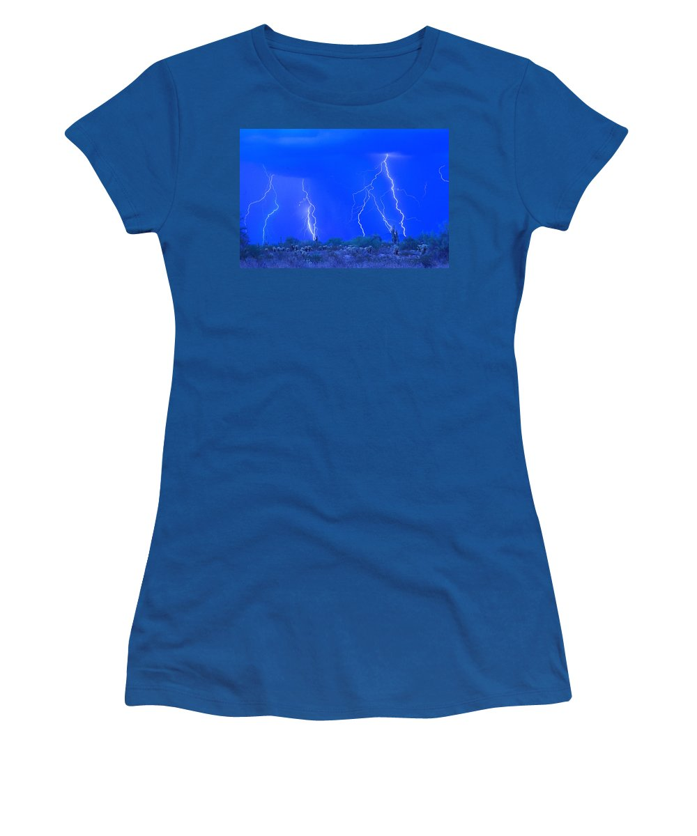 Lightning Women's T-Shirt featuring the photograph Stormy Desert by James BO Insogna