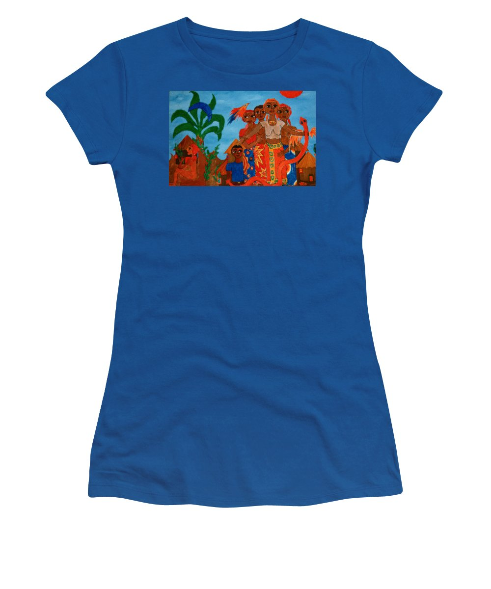 Study Women's T-Shirt (Athletic Fit) featuring the painting Study To Motherland A Place Of Exile by Madalena Lobao-Tello