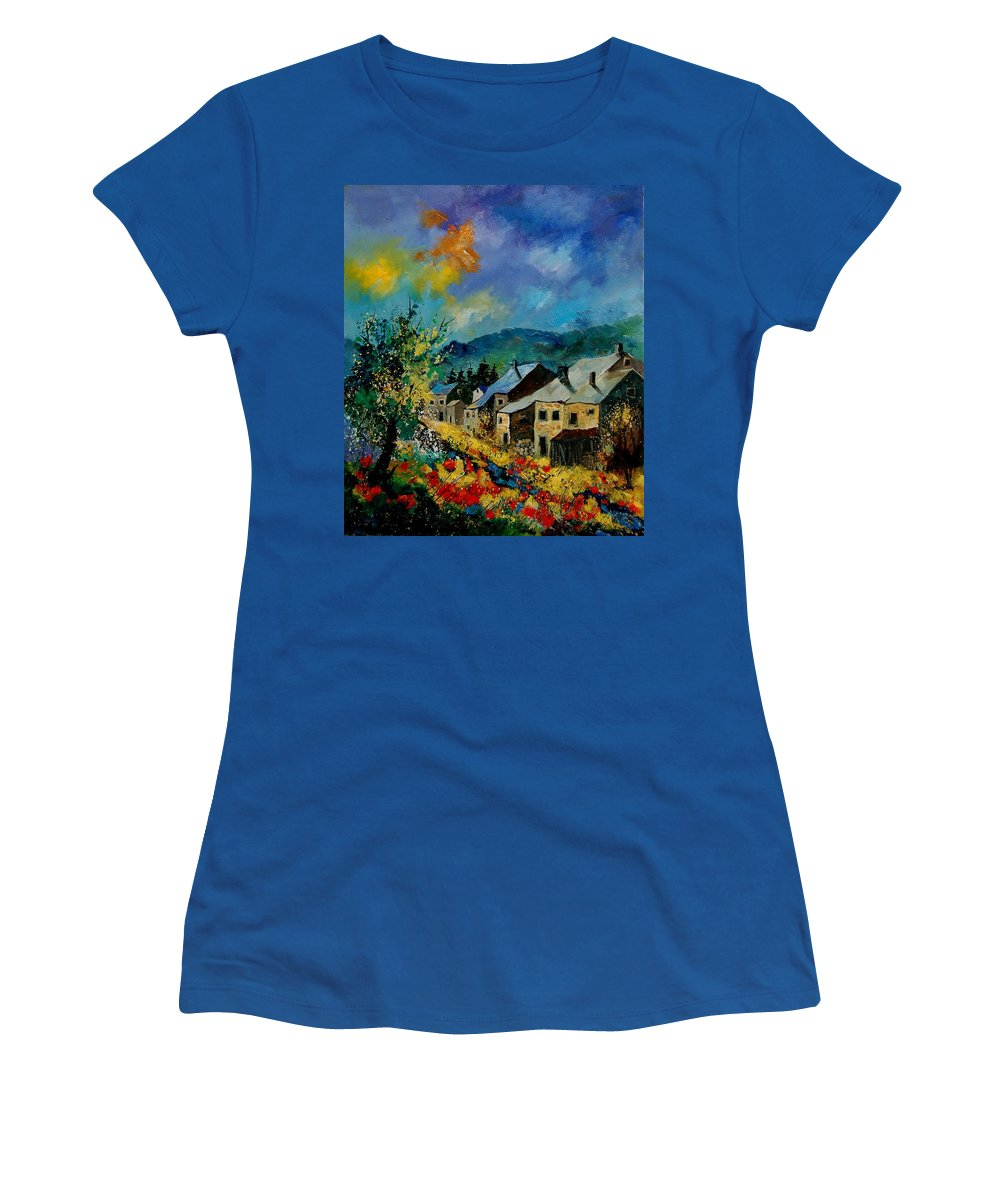Poppies Women's T-Shirt (Athletic Fit) featuring the painting Summer In Mogimont by Pol Ledent