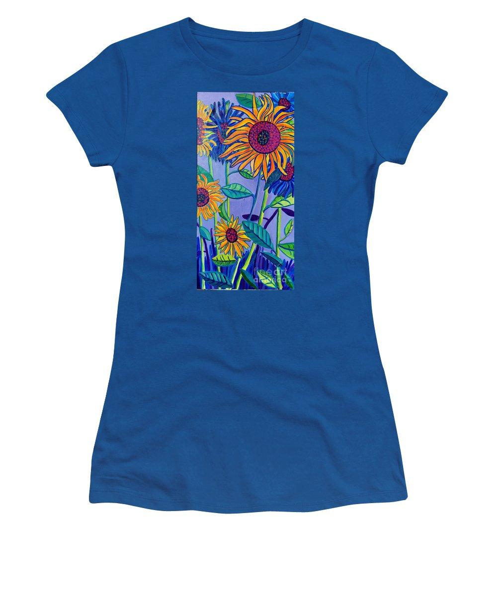 Sunflowers Women's T-Shirt featuring the painting Sunflower Garden by Debra Bretton Robinson