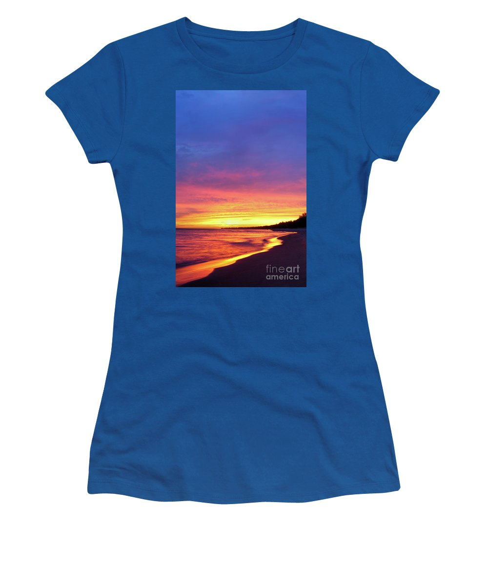 Beach Women's T-Shirt featuring the photograph Sunset Over Beach by Oleksiy Maksymenko