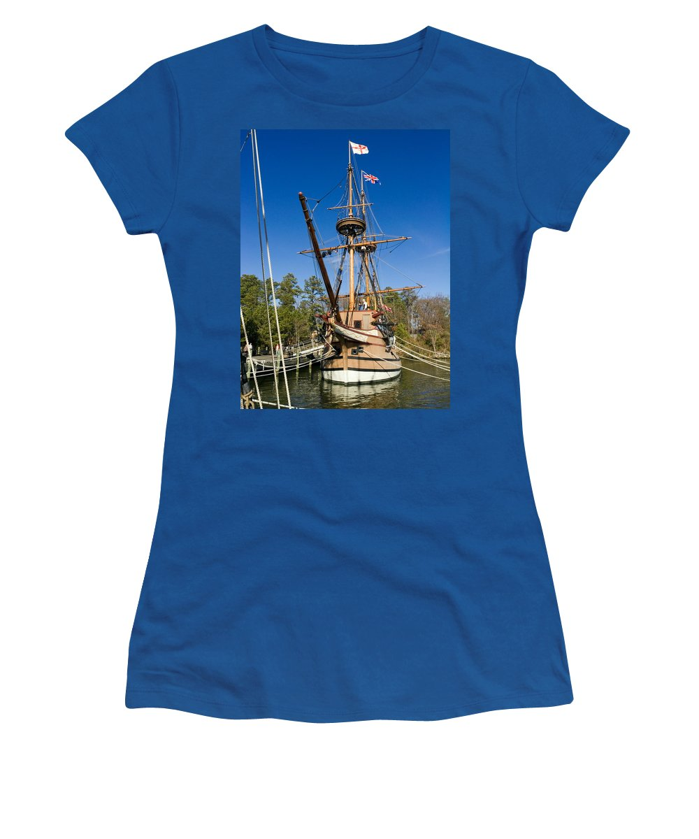 17th Century Ship Susan Constant Replica Women's T-Shirt featuring the photograph Susan Constant Replica by Sally Weigand