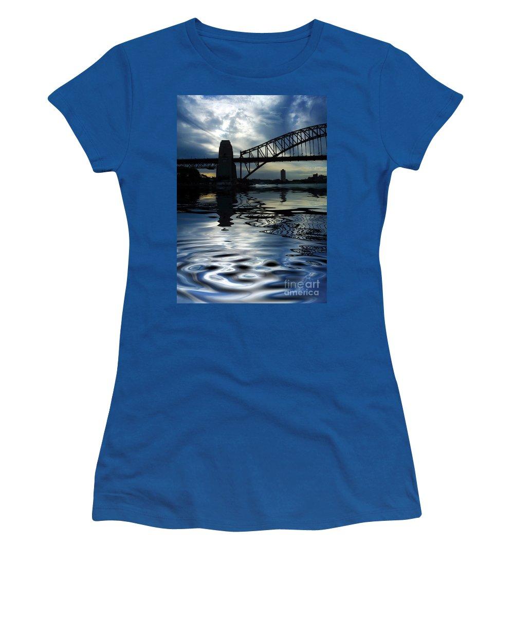 Sydney Harbour Australia Bridge Reflection Women's T-Shirt (Athletic Fit) featuring the photograph Sydney Harbour Bridge Reflection by Sheila Smart Fine Art Photography