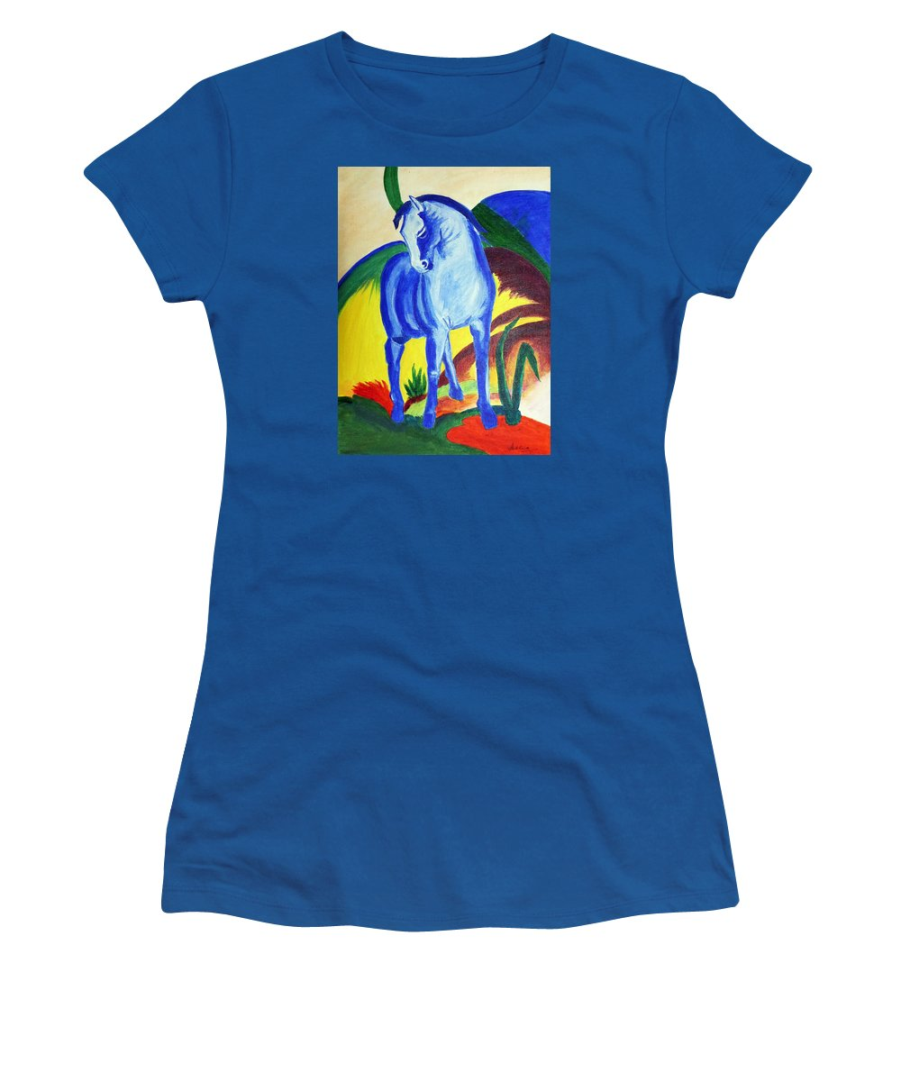 Horse Women's T-Shirt featuring the painting The Blue Horse Franc Marz by Asha Sudhaker Shenoy