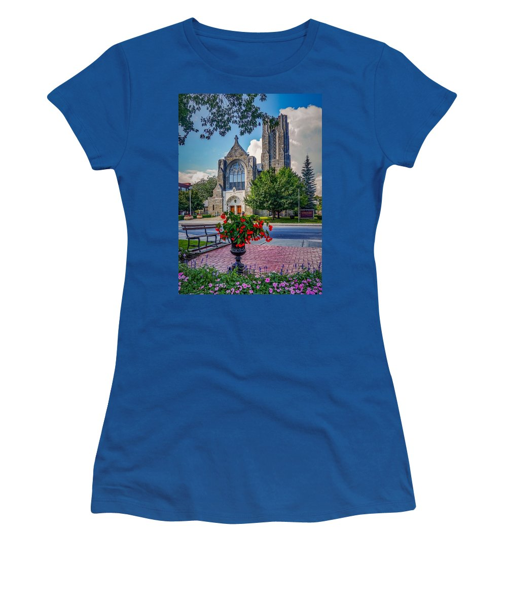 Women's T-Shirt featuring the photograph The church in summer by Kendall McKernon