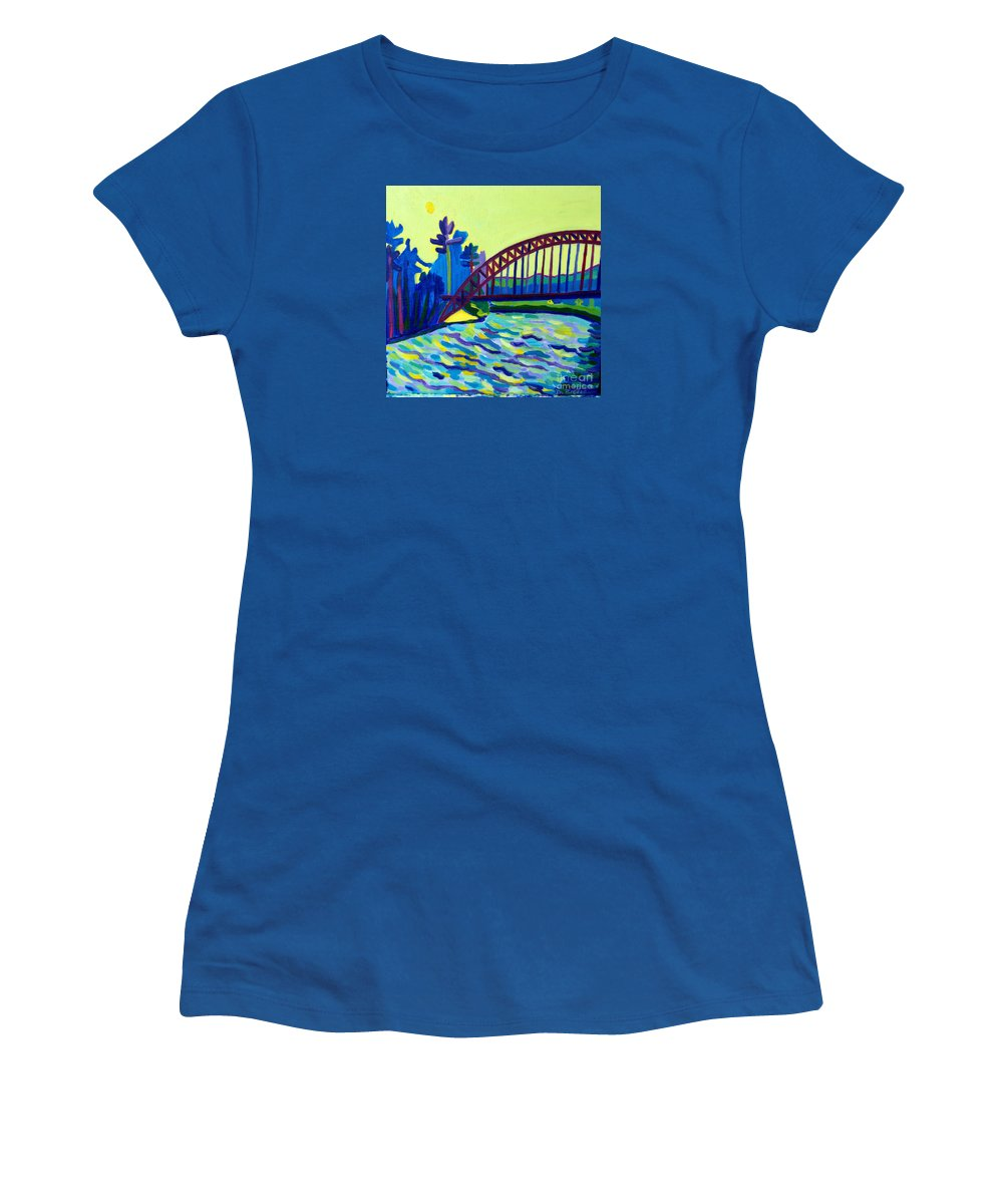 Water Women's T-Shirt featuring the painting The Tyngsborough Bridge by Debra Bretton Robinson