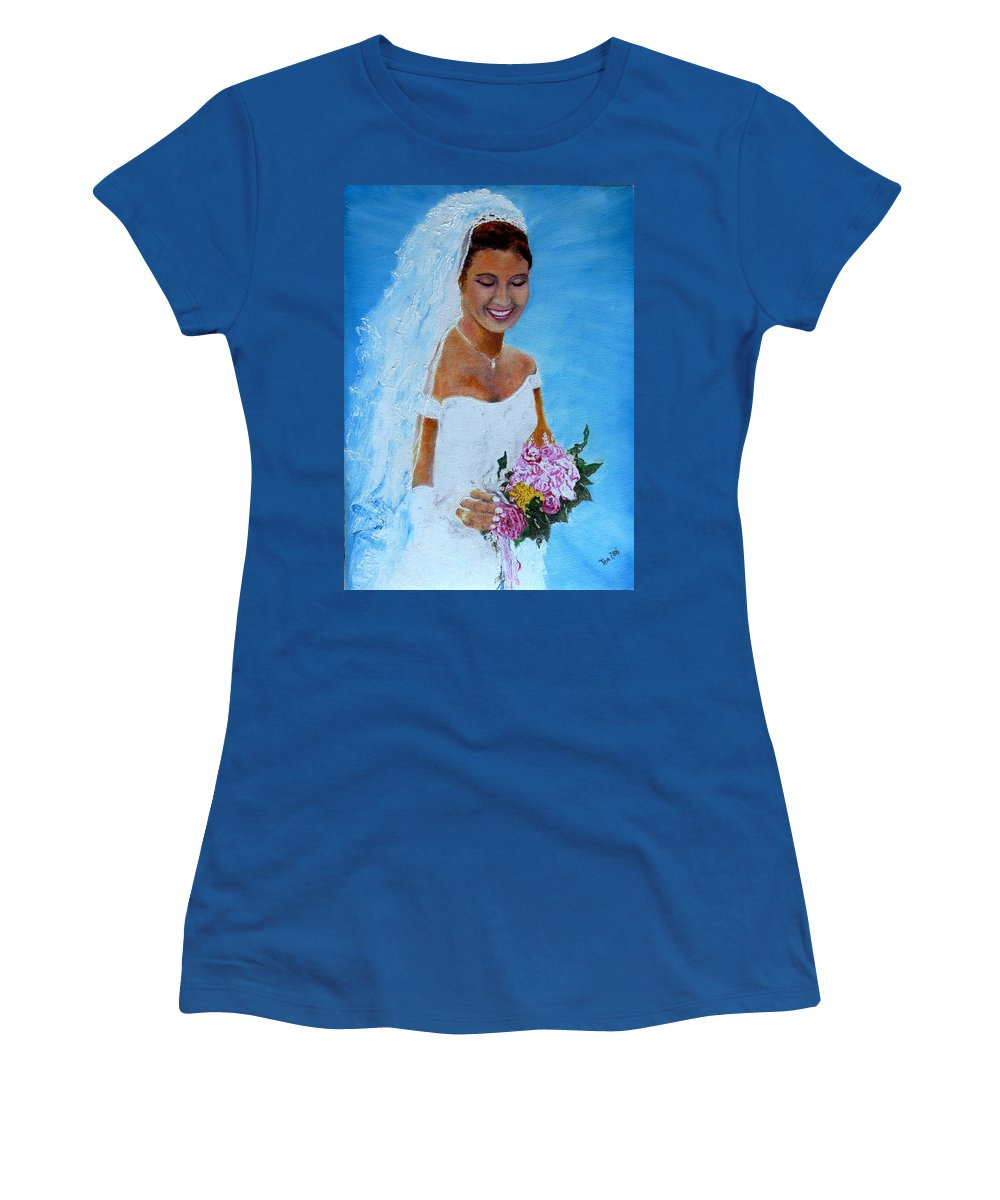 Wedding Women's T-Shirt (Athletic Fit) featuring the painting the wedding day of my daughter Daniela by Helmut Rottler