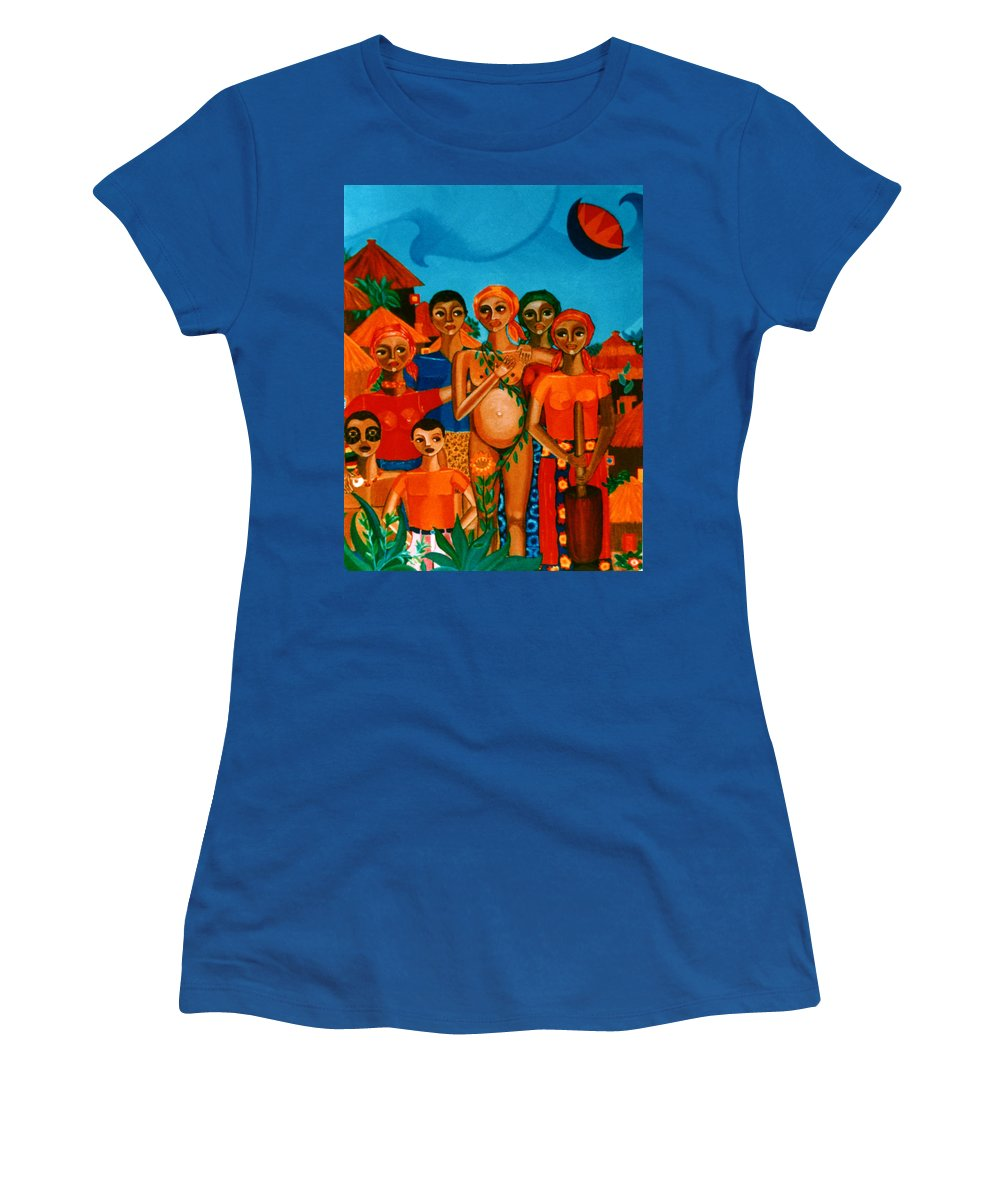 Pregnant Women Women's T-Shirt (Athletic Fit) featuring the painting There Are Always Sunflowers For Those Waiting A New Life by Madalena Lobao-Tello