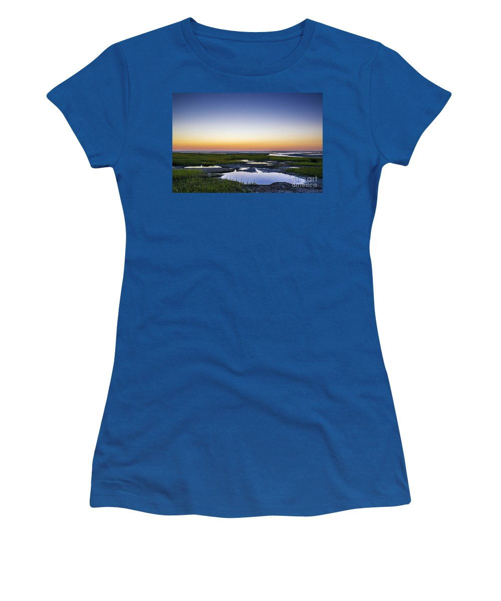 Boat Meadow Beach Women's T-Shirt featuring the photograph Tidal Pool Sunset by John Greim