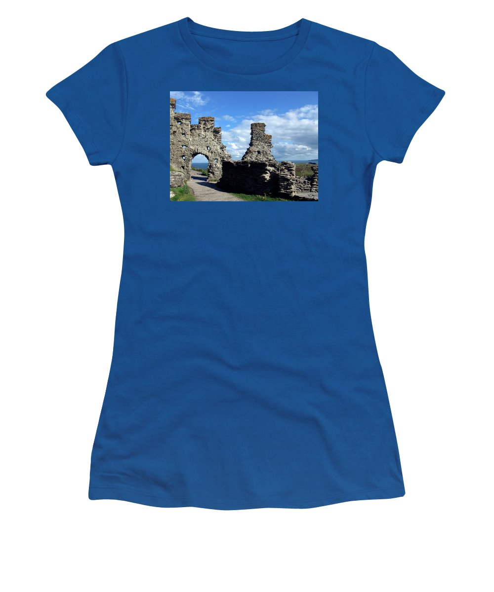 Tintagel Women's T-Shirt featuring the photograph Tintagel Castle 2 by Kurt Van Wagner