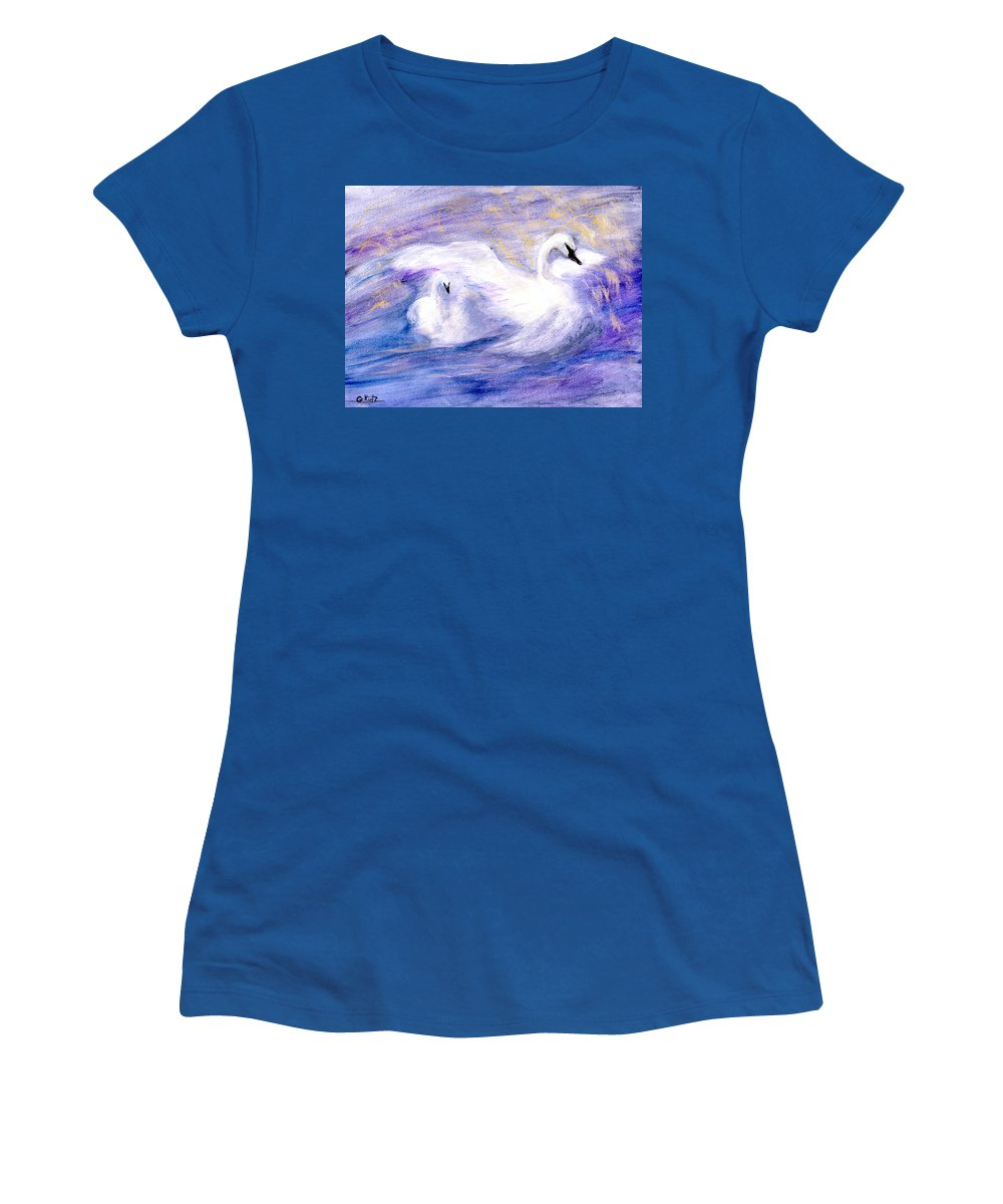Birds Women's T-Shirt (Athletic Fit) featuring the painting Transformation by Gail Kirtz