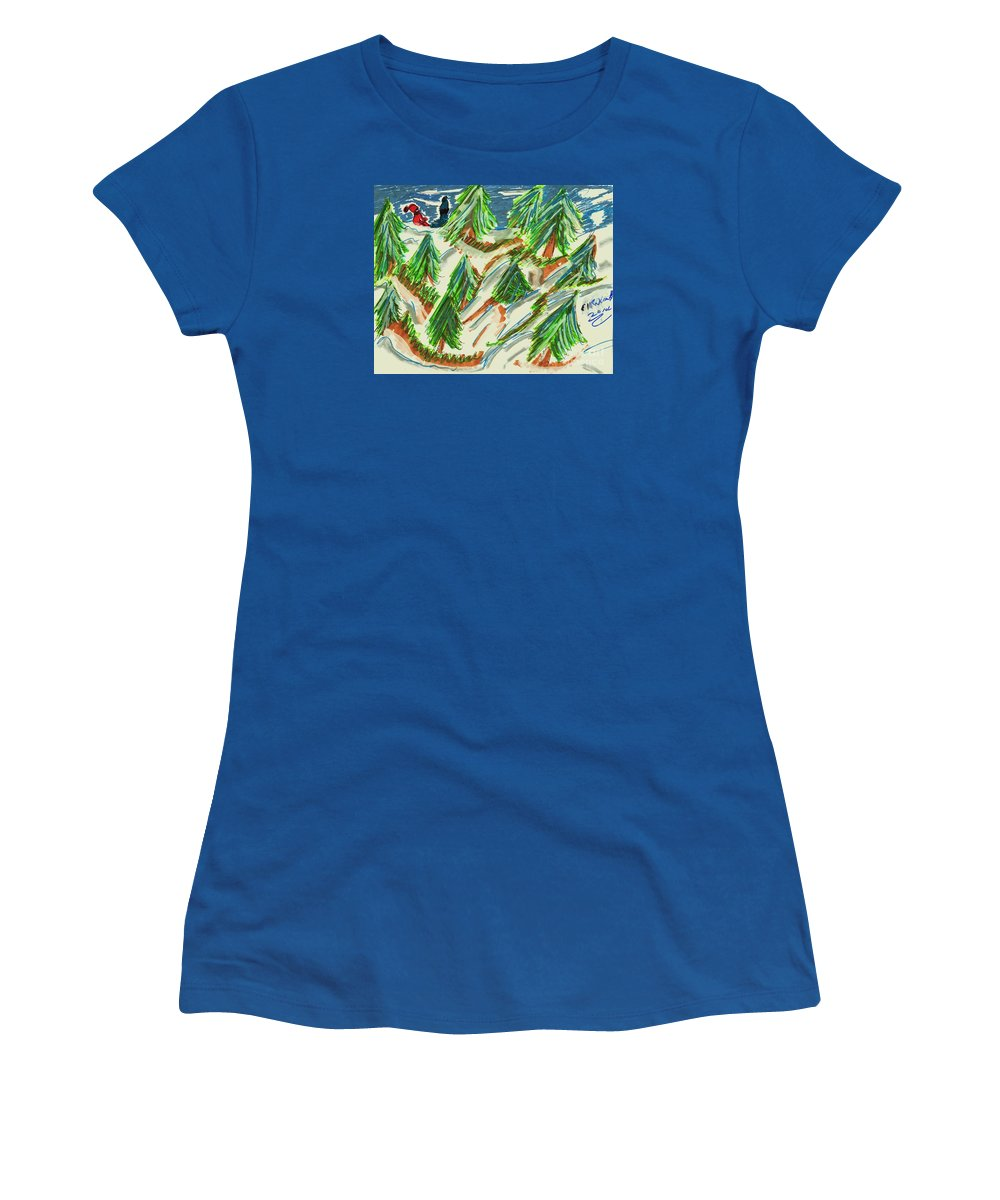 Pine Trees On A Tree Farm 2 Children In The Background Women's T-Shirt featuring the mixed media Tree Farm by Elinor Helen Rakowski