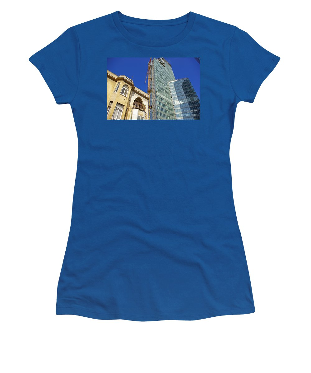 Building Women's T-Shirt (Athletic Fit) featuring the photograph Two Buildings.. by Zal Latzkovich