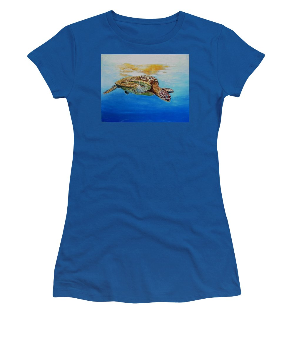 Wildlife Women's T-Shirt (Athletic Fit) featuring the painting Up For Some Rays by Ceci Watson