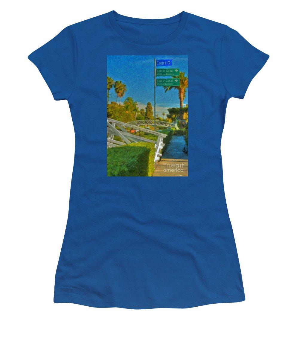 Venice Canal Bridge Signs Women's T-Shirt featuring the photograph Venice Canal Bridge Signs by David Zanzinger