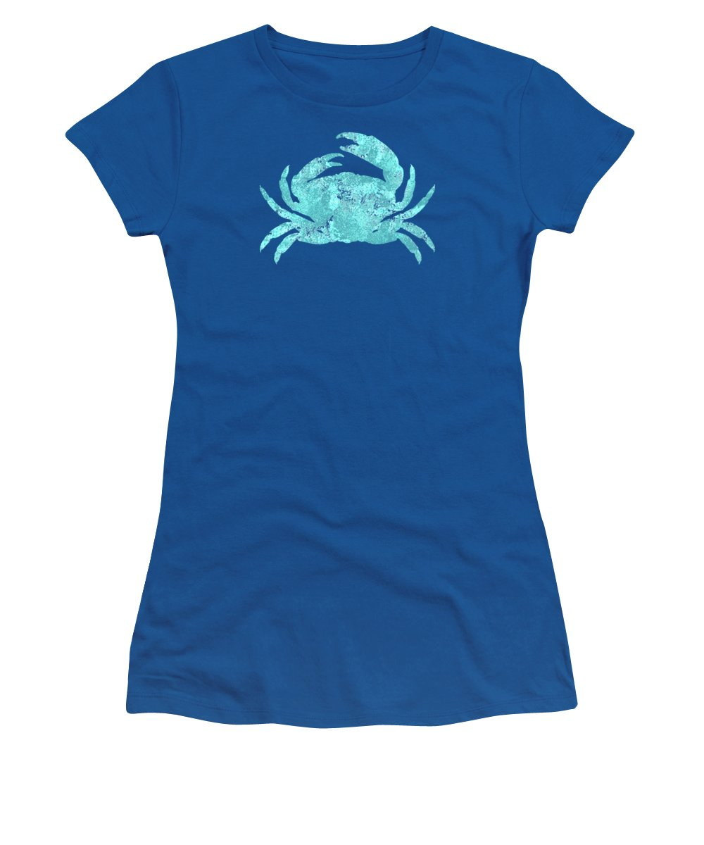 Crab Women's T-Shirt featuring the painting Vibrant Blue Crab Beach House Coastal Art by Tina Lavoie