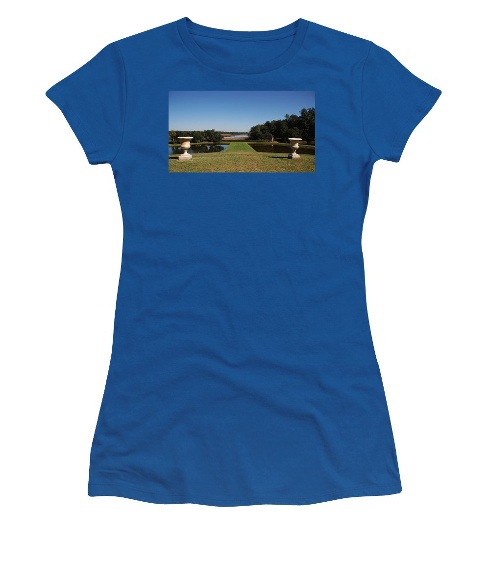 Photography Women's T-Shirt featuring the photograph View Down To The Ashley River At Middleton Place Plantation Charleston by Susanne Van Hulst