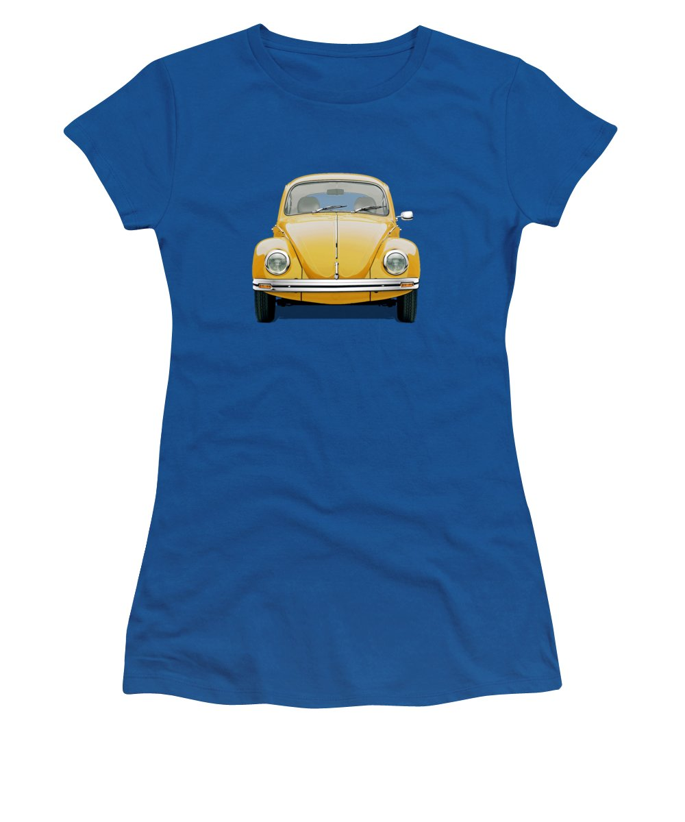 'volkswagen - Bugs And Buses' Collection By Serge Averbukh Women's T-Shirt featuring the digital art Volkswagen Type 1 - Yellow Volkswagen Beetle on Blue Canvas by Serge Averbukh
